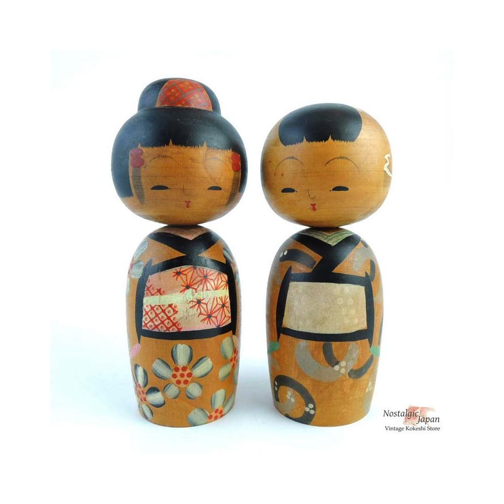 Kokeshi Dolls 50's set of 2