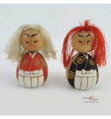 Mini kokeshi Kabuki - Lot de 2 poupées japonaises