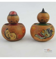 Mini Kokeshi Okame & Hannya- Set of 2 Dolls