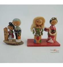Mini kokeshi - Lot de 4 poupées japonaises