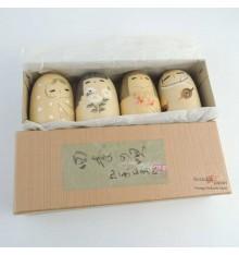 Kokeshi - Lot de 4 poupées japonaises