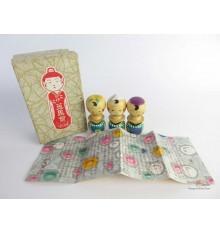 Mini kokeshi - Lot de 3 poupées japonaises