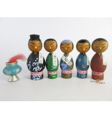 Mini Kokeshi - Set of 5 Dolls