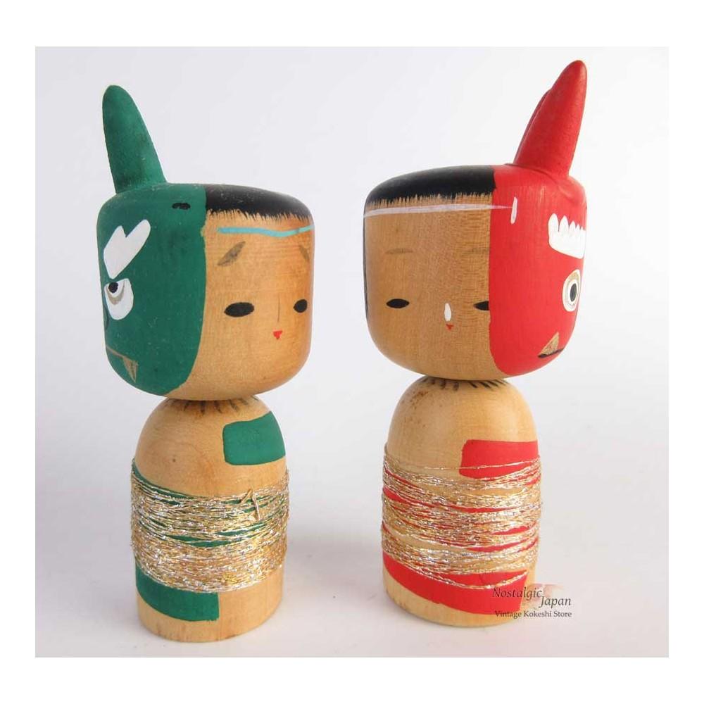 Kokeshi unique - Lot de 2 poupée japonaise