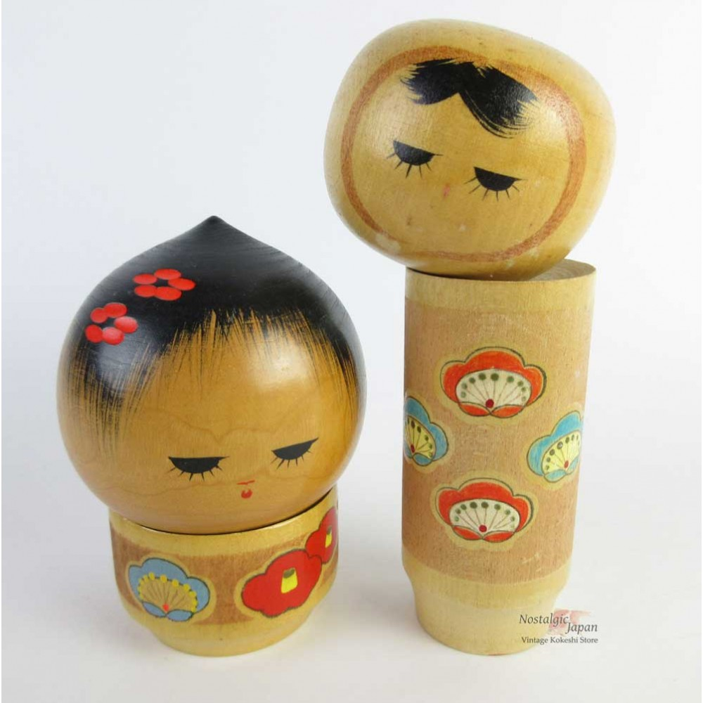 Unique Kokeshi - Set of 2 Dolls