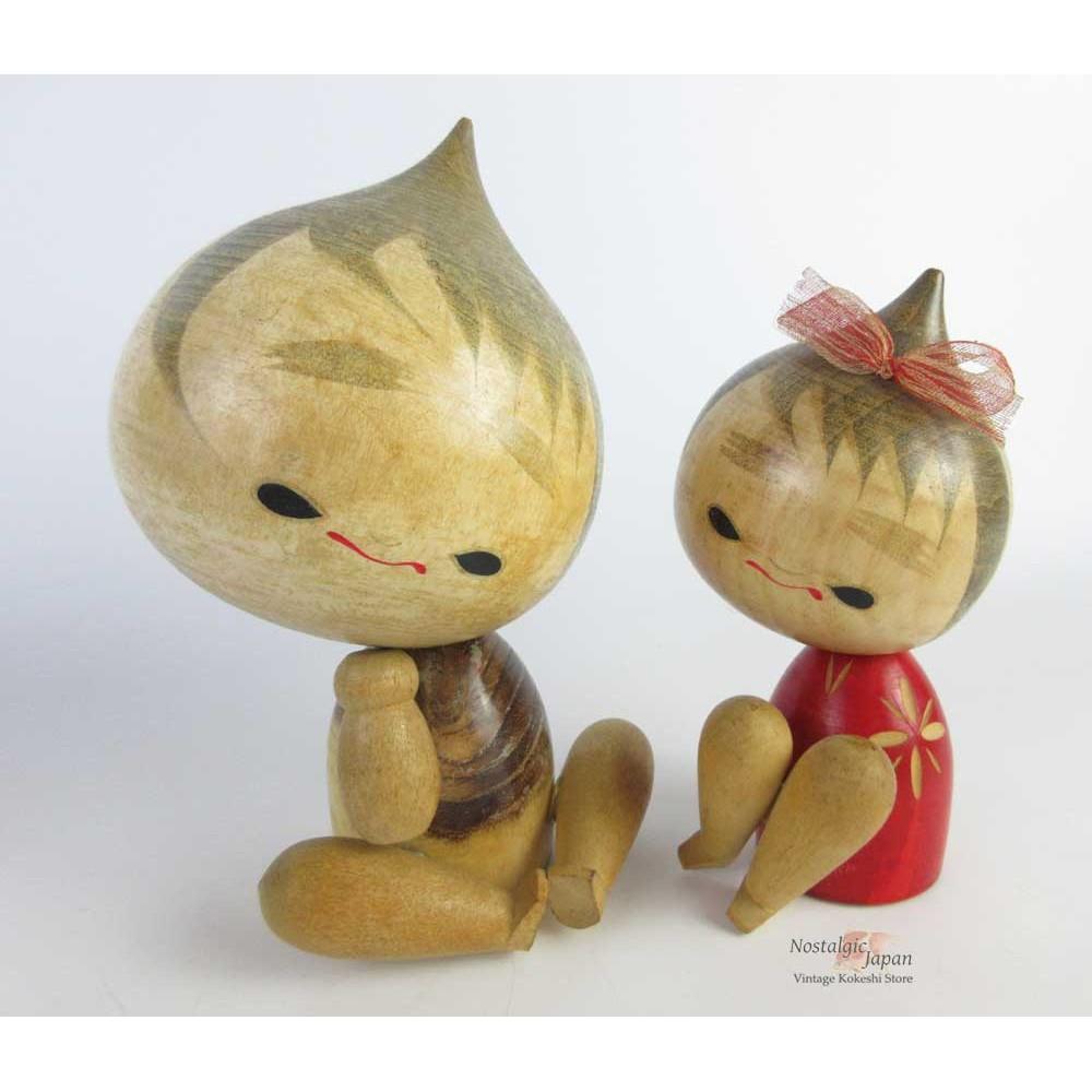 Kokeshi unique - Lot de 2 poupées japonaises