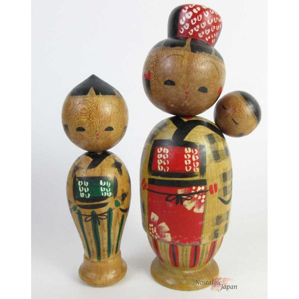 Poupées japonaises kokeshi années 50 lot de 2