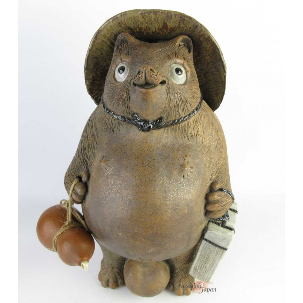 Japanese antique ceramic racoon dog, Tanuki