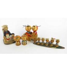 Mini kokeshi - Lot de 5 poupées japonaises