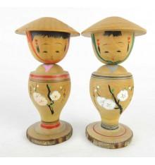 Mini kokeshi - Lot de 2 poupées japonaises