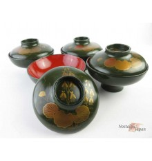 Japanese Vintage Lacquered Wooden Bowls with lid - set of 2
